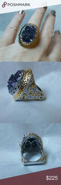 NWOT, GEMS en VOUGE Womans AMETHYST GEODE ring 7 23mm X 17mm Oval Amethyst Geod Crystal Womans Ring sz 7. 2 tone 18 k yellow gold & Palatium metal which is 925 silver with Platinum....This ring will not tarnish.. Euro shank so the ring will not spin or tilt to one side.  A real knuckle buster....the full coverage of the top of the ring is 29mm X 23mm....Gems en Vouge... Jewelry Rings