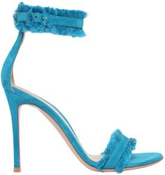 100mm Portofino Fringed Suede Sandals