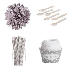 Dress My Cupcake Personalized Dessert Table Party Kit, Polka Dot, Happy Birthday, Grey > Discover this special deal, click the image : Baking desserts tools