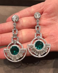 One of a kind deco inspired Colombian Emerald and diamond earrings! With a modern Martin Katz twist! No Oil Emeralds by Martin Katz