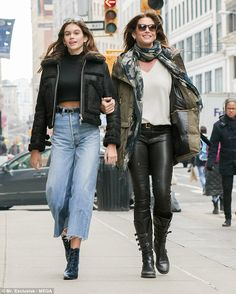 Picture perfect: Cindy Crawford looked like she stepped straight out of a magazine pictorial as she walked the streets of New York City with her family on Monday