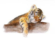 Baby Tiger Animal Art Tiger Wall Art Jungle by TinyToesDesign
