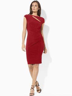 Ralph Lauren - Opera Red Cutout Ruched Dress