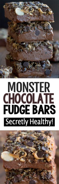 Monster Chocolate Fudge Bars Chocolate Fudge, Healthy Chocolate, Chocolate Recipes, Baking Chocolate, Chocolate Truffles, Chocolate Covered, Low Carb Desserts, Healthy Desserts, Dessert Recipes
