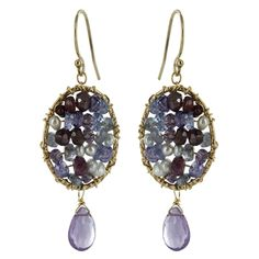 Gold-Filled Amethyst Tanzanite Garnet & Pearl Oval Dangle Earrings by Michelle Pressler - Fire & Ice