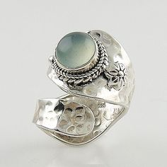 Chalcedony Floral Sterling Silver Adjustable Ring