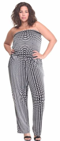 fb5c320b22ab Mlle Gabrielle Plus Size Optical Illusion Jumpsuit Black White Strapless   UNIQUE WOMENS FASHION Plus Size Jumpsuit