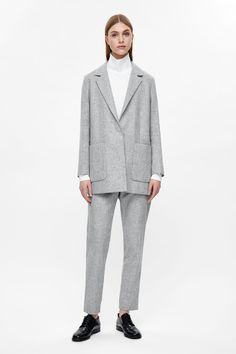 COS image 1 of Long wool blazer in Light Grey
