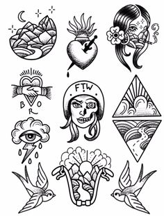 Babes Ride Out East Coast 3 Tattoo Flash - Tattoos&pircings - Kritzelei Tattoo, 13 Tattoos, Doodle Tattoo, Kunst Tattoos, Mini Tattoos, Body Art Tattoos, Small Tattoos, Sleeve Tattoos, Ship Tattoos