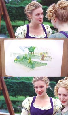 EMMA: What did he say to you before he left?  HARRIET:  Oh, just that… my painting is coming along splendidly. EMMA: he really must be in love!