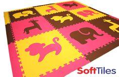 SoftTiles Safari Animals Foam Mats for Kids in Pink, Yellow, Brown