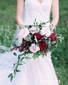 We love this combination of pastel pink and deep, marsala-hued blooms - it instantly gives this romantic bouquet a touch of the unexpected! | Photography By: Nicole Sarah Wedding | WedLuxe Magazine | #luxury #wedding #luxurywedding #weddinginspiration #bouquet #floral #destinationwedding