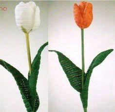 Crochet tulips with diagram - tulipanes a ganchillo con diagram