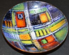 1977 ABSTRACT ENAMEL on copper Bowl, LUCILLE CANTINI