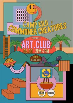 illustration - Camp Kilo x Commoner Creatures - CoDesign Magazine Graphic Design Posters, Graphic Design Illustration, Graphic Design Inspiration, Digital Illustration, Graphic Art, Color Inspiration, Cover Design, Design Art, Layout Design