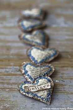 Newspaper hearts. #craft #recycling #DIY