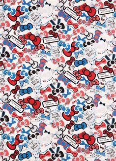 white Hello Kitty oxford fabric ribbons bow red blue by Sanrio from Japan 2