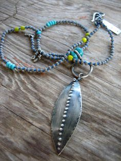 Alien Leaf Sterling SIlver Necklace with Turquoise by sierrakeylin