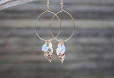 Seashell Earrings, Beach Earrings, Gold, Shell Earrings Seashell Jewelry Beach Jewelry Shell Jewelry Hawaii Jewelry Swarovski Pearl Earrings. $20.00, via Etsy.