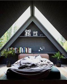 26 Ideas Bedroom Interior Design Inspiration Lights For 2019 A Frame Cabin, A Frame House, Tiny House Design, Modern House Design, Interior Design Inspiration, Home Interior Design, Modern Interior, Kitchen Interior, Design Ideas