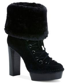 4cc96a8c095 Macy's #CalvinKlein Women's Booties, Keona High Heel Faux-Fur Cold Weather  Booties Women's