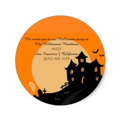 Haunted Castle Halloween Invitation Classic Round Sticker - Halloween happyhalloween festival party holiday
