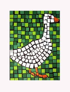 bird mosaic - notice the tiles are on top of black paper!  this is KEY.