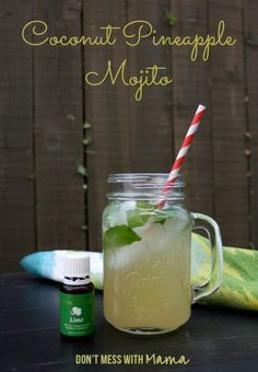 Coconut Mojito Recipe with Lime Essential Oil #realfood #cocktails #recipe #essentialoils - DontMesswithMama.com