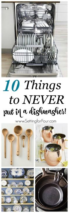 Dishwashers are an amazing convenience but did you know that there are many items that can get completely damaged in a dishwasher? Let's take a look at these need-to-know cleaning tips: the 10 things you should never put in a dishwasher and the reasons wh Deep Cleaning Tips, Cleaning Recipes, House Cleaning Tips, Natural Cleaning Products, Cleaning Solutions, Spring Cleaning, Cleaning Hacks, Kitchen Cleaning, Cleaning Checklist