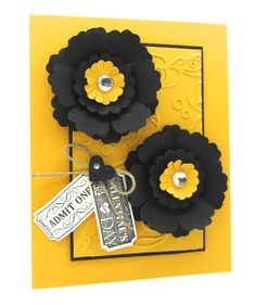 A non-traditional Valentine's card using Basic Black & Yellow with the Blossom Punch and That's The Ticket Stamp Set from Stampin' Up with the Ticket Duo punch