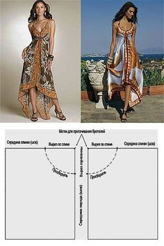 How to sew a summer dress in 5 minutes. Fashion Sewing, Diy Fashion, Ideias Fashion, Fashion Dresses, Womens Fashion, Dress Sewing Patterns, Clothing Patterns, Clothing Ideas, Sewing Clothes