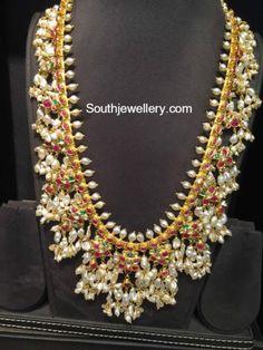 Guttapusalu Haram and Jhumkas Set photo Indian Jewellery Design, Indian Jewelry, Jewelry Design, Kerala Jewellery, Wedding Jewelry, Gold Jewelry, Gold Bangles, Glass Jewelry, Frozen Jewelry