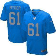 Men's Nike Detroit Lions #61 Kerry Hyder Elite Blue Alternate NFL Jersey