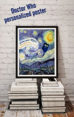 """Doctor Who Van Gogh Starry Night Tardis art print.  My absolute favorite Doctor Who episode, """"Vincent and the Doctor."""" Personalize with your names. Companions traveling through space and time. Matt Smith, Blue Box, Geronimo, Van Gogh, Sherlock, Tardis Art, Doctor Who Wedding, Doctor Who Gifts, Doctor Who Episodes"""