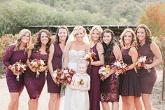 plum bridesmaid dresses | A Marsala & Gold Backyard Fall Wedding
