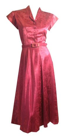 Delicious Raspberry Pink Floral Weave Satin Party Dress circa 1940s - Dorothea's Closet Vintage Vintage Red Dress, Vintage Style Dresses, Vintage Wear, Vintage Outfits, Vintage Clothing, 1940s Fashion, Vintage Fashion, Women's Fashion, Long Cocktail Dress
