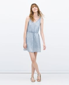 Image 1 of DRESS WITH PATTERNED HEM from Zara