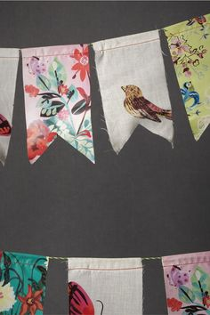 Crafty inspiration for handmade flag bunting from mismatched vintage fabrics