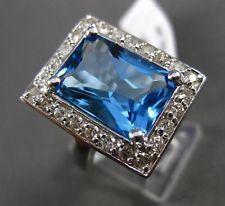 ANTIQUE 8.17CT DIAMOND & AAA BLUE TOPAZ 14K WHITE GOLD FILIGREE EMERALD CUT RING