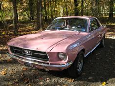 This 1967 Sprint 200 Mustang hardtop owned by Teri Garcia has been restored to its original Dusk Rose pink exterior paint. Dusk Rose was originally a 1957 Ford Thunderbird production color which came back in 1967 as a special 1967 Mustang, Pink Mustang, Mustang Cars, Classic Mustang, Ford Classic Cars, Pretty Cars, Cute Cars, Ford Gt, Audi Tt