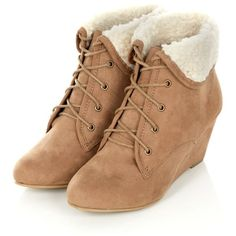 Wide Fit Stone Faux Shearing Lined Wedge Boots (275 ARS) ❤ liked on Polyvore featuring shoes, boots, wedges, heels, sapatos, heeled boots, wide heel shoes, wide wedge shoes, wide boots and wedge boots