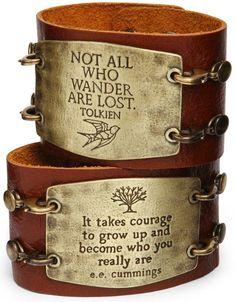 ThinkGeek :: Leather Statement Cuff -- Tolkien one please.