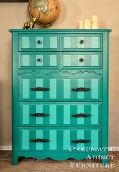 Pneumatic Addict Furniture: Bold Make-Over: Striped Teal Chest of Drawers Furniture Dolly, White Furniture, Upcycled Furniture, Furniture Projects, Online Furniture, Furniture Makeover, Painted Furniture, Diy Furniture, Diy Projects