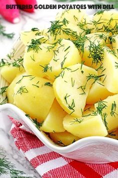 A simply prepared recipe is usually the one that turns out to be the best-tasting and most loved go-to dishes. This classic Buttered Golden Potatoes with Dill is one of those for us. Filling potato chunks coated with savory butter, sprinkled with fresh garden-grown dill to make such a simple yet tasty and comforting dish. | www.valyastasteofhome.com #butteredgoldenpotato #freshdill #yellowpotatoeswithdill #comfortdinner #familyfavorite