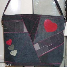 recycled denim bag tutorial. Love the red hearts. I'd like to use this theme to repair my navy leather couch.