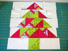 Christmas in July ~ Christmas Tree Table Runner.this is an image if the blocks that are repeated to create the runner. Table Runner Tutorial, Table Runner Pattern, Christmas Tree On Table, Christmas In July, Holiday Fun, Christmas Sewing, Christmas Crafts, Christmas Items, Straight Line Quilting