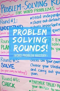 Help your students master math word problems with Problem-Solving Rounds! This cooperative strategy gets kids Fourth Grade Math, Second Grade Math, Third Grade, Seventh Grade, Sixth Grade, Critical Thinking Activities, Critical Thinking Skills, Math Anchor Charts, Math Charts