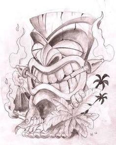 Viewing Gallery For - Tiki Man Drawing Tattoo Sketches, Tattoo Drawings, Drawing Sketches, Art Drawings, Tattoo Arm Mann, Mask Tattoo, Tiki Maske, Tiki Tattoo, Maori Tattoos