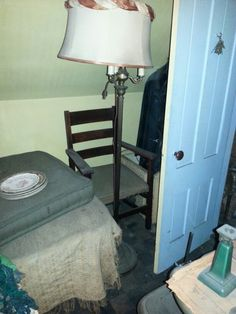 Antique floor lamp, wonderful antique ladder back chair solid