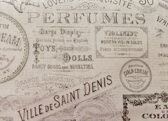 FRENCH Paris Script Stamped Fabric By the Half  by ByTheYard4U, $6.99